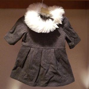 Gray Faux Fur Cotton Dress 6-12 monthd